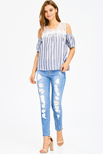$20 - Cute cheap blue washed denim mid rise distressed ripped knee frayed hem fitted ankle skinny jeans - blue washed denim distressed frayed high rise waist fitted skinny jeans