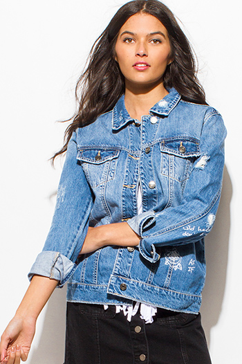 $25 - Cute cheap ribbed jacket - blue washed denim distressed long sleeve button up graphic print oversized jean jacket