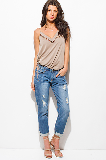 $20 - Cute cheap one shoulder boho top - blue washed denim distressed mid rise cropped cuffed boho boyfriend jeans
