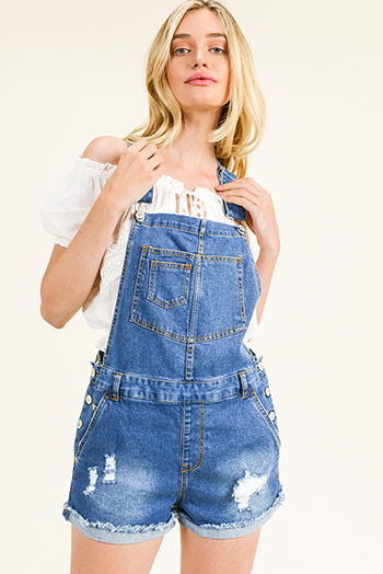 $25 - Cute cheap Blue washed denim distressed racer back cutoff cuffed hem boho overall shorts