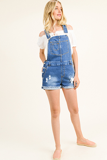 $20 - Cute cheap blue washed denim mid rise distressed destroyed chewed hem ankle fit skinny jeans - Blue washed denim distressed racer back cutoff cuffed hem boho overall shorts