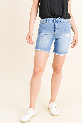 $20 - Cute cheap navy blue acid washed denim distressed rhinestone embellished cuffed jean shorts - Blue washed denim high rise distressed frayed hem cutoff mid length bermuda jean shorts