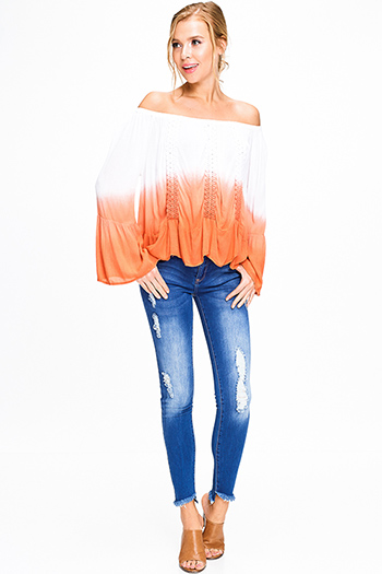 $20 - Cute cheap blue poncho - Blue washed denim high waisted distressed cutoff frayed hem fitted skinny jeans