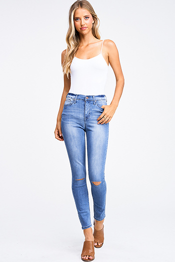 $25 - Cute cheap Blue washed denim high waisted distressed ripped knee fitted skinny jeans