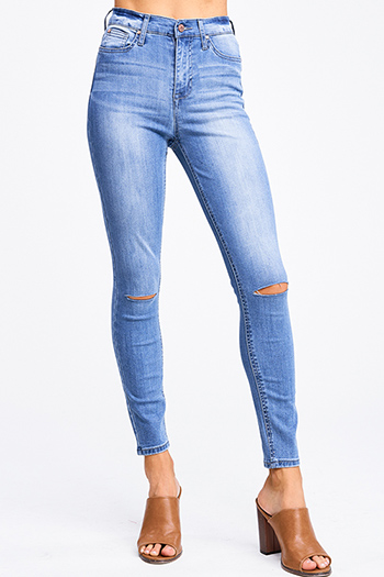 $20 - Cute cheap fitted skinny jeans - Blue washed denim high waisted distressed ripped knee fitted skinny jeans