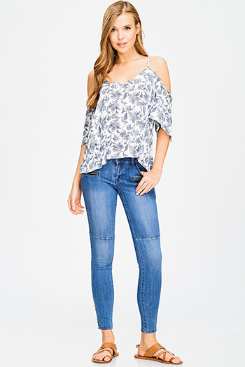 $20 - Cute cheap high low blouse - blue washed denim low rise ankle fitted zipper pocekted cargo skinny jeans