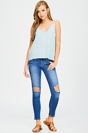 $15 - Cute cheap black white polka dot mesh inset cut out cold shoulder sexy clubbing crop top - blue washed denim mid rise cut out distressed ankle fitted skinny jeans