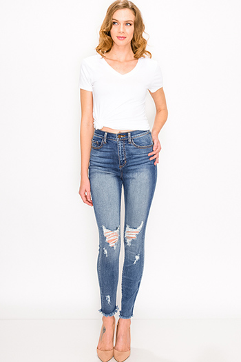 $25 - Cute cheap hart blue washed denim ripped distressed mid rise fitted crop capri skinny jeans - Blue washed denim mid rise distressed cut off hem fitted skinny jeans