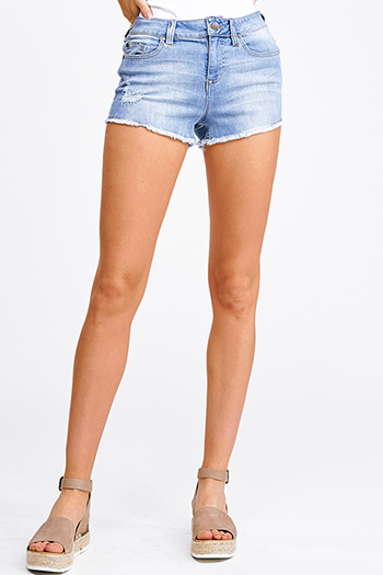 $15 - Cute cheap navy blue gauze blouse - Blue washed denim mid rise distressed frayed cutoff hem boho jean shorts