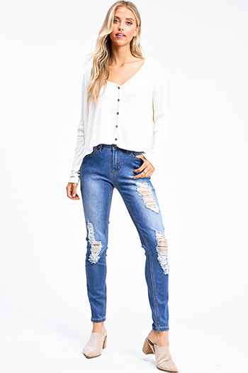$20 - Cute cheap Blue washed denim mid rise distressed ripped fitted skinny jeans