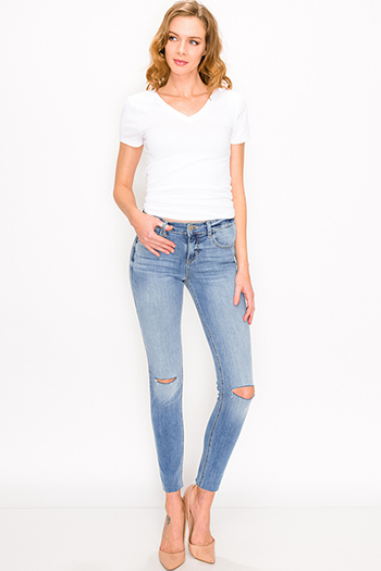 $25 - Cute cheap blue washed denim mid rise distressed destroyed chewed hem ankle fit skinny jeans - Blue washed denim mid rise distressed ripped knee fitted skinny jeans