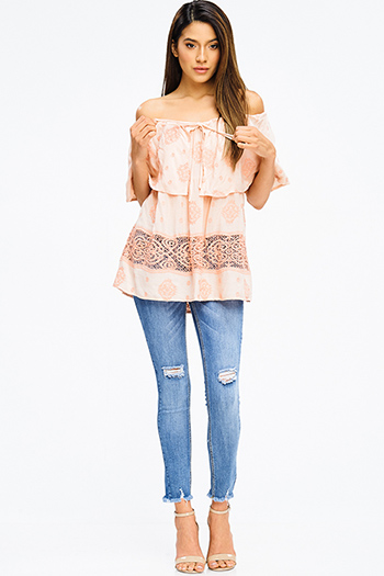 $20 - Cute cheap peach pink denim mid rise ripped knee skinny fit ankle jeans - blue washed denim mid rise distressed ripped knee frayed hem fitted ankle skinny jeans
