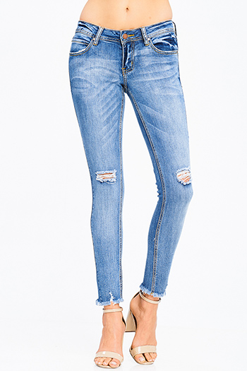 $20 - Cute cheap fitted top - blue washed denim mid rise distressed ripped knee frayed hem fitted ankle skinny jeans