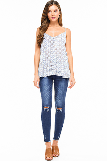 $25 - Cute cheap dark blue washed denim low rise fringe trim ankle fitted skinny jeans - Blue washed denim mid rise distressed ripped knee pearl studded slit hem fitted skinny jeans