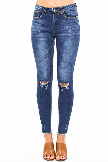 $25 - Cute cheap navy blue washed denim mid rise distressed frayed sculpt skinny jeans - Blue washed denim mid rise distressed ripped knee pearl studded slit hem fitted skinny jeans
