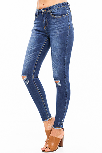 $18 - Cute cheap blue washed denim mid rise distressed destroyed chewed hem ankle fit skinny jeans - Blue washed denim mid rise distressed ripped knee pearl studded slit hem fitted skinny jeans