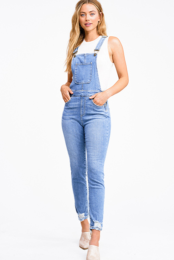 $20 - Cute cheap blue washed denim mid rise distressed destroyed chewed hem ankle fit skinny jeans - Blue washed denim open back zip up distressed skinny fitted boho overall jumpsuit