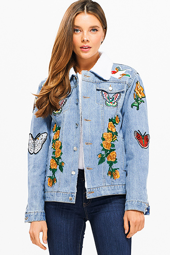 $30 - Cute cheap navy blue washed denim skinny jeans button up pocketed overalls jumpsuit - Blue washed denim patch embroidered sherpa fleece lined boho jean trucker jacket