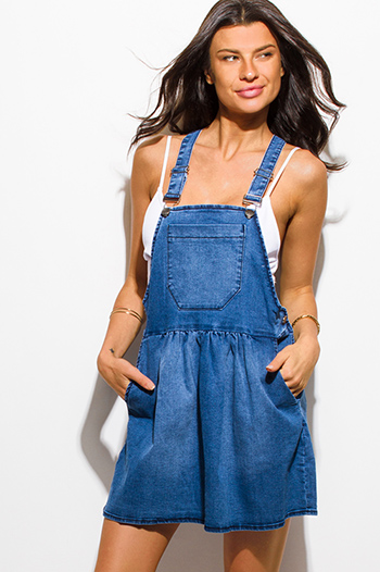 $15 - Cute cheap v neck fitted dress - blue washed denim pocketed overall jean skirt mini dress