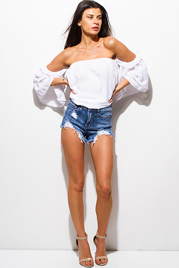 $15 - Cute cheap blue washed denim ripped distressed frayed hem mid rise cutoff jean shorts