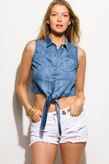 $10 - Cute cheap light blue washed denim distressed mid rise roll up boyfriend jean shorts - blue washed denim sleeveless button up tie front boho crop blouse top