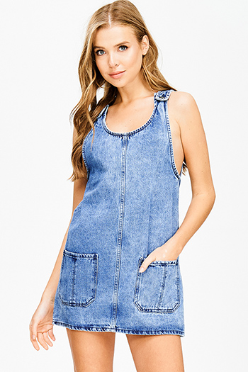 $15 - Cute cheap print midi dress - blue washed denim sleeveless pocketed boho apron overall jean dress