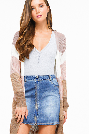 $20 - Cute cheap ribbed bodycon sexy club skirt - Blue washed denim zip up pocketed boho pencil jean skirt