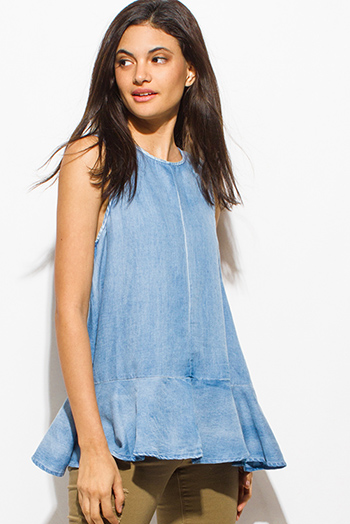 $15 - Cute cheap one shoulder boho top - blue washed tencel sleeveless zip up back peplum boho blouse top