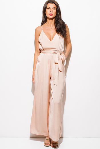 $20 - Cute cheap burgundy jumpsuit - blush beige satin sleeveless v neck faux wrap surplice backless pocketed wide leg evening jumpsuit