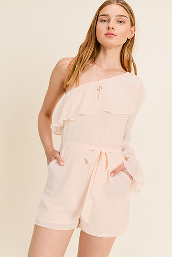 $13 - Cute cheap floral v neck jumpsuit - Blush peach chiffon ruffled one shoulder long bell sleeve evening romper jumpsuit