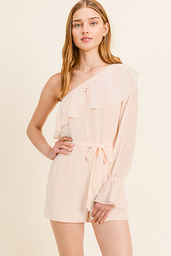 $15 - Cute cheap white houndstooth textured cut out twist knot cold shoulder long sleeve boho blouse top - Blush peach chiffon ruffled one shoulder long bell sleeve evening romper jumpsuit