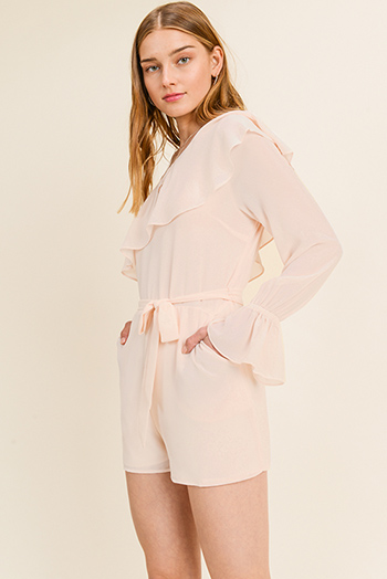 $20 - Cute cheap lace crochet romper - Blush peach chiffon ruffled one shoulder long bell sleeve evening romper jumpsuit