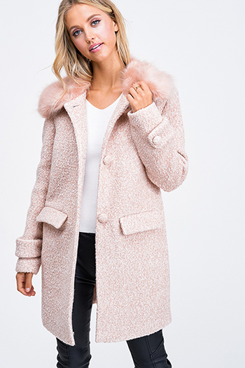 $50 - Cute cheap career wear - Blush pink boucle tweed button up faux fur collar boho peacoat jacket