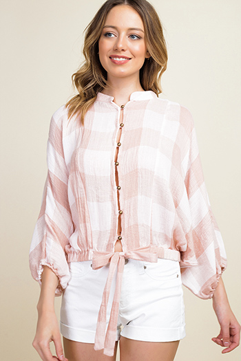$12 - Cute cheap olive green stripe long sleeve round neck tie front boho top - Blush pink buffalo check long dolman sleeve tie front boho button up blouse top