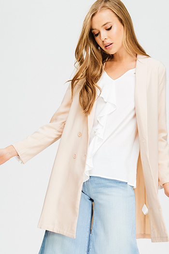 $15 - Cute cheap blue stripe embroidered quarter sleeve button up boho blouse pinstripe top - blush pink button up long sleeve boyfriend duster blazer coat jacket