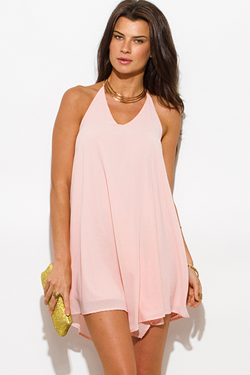 $10 - Cute cheap print chiffon cocktail dress - blush pink chiffon halter backless asymmetrical hem mini cocktail sexy party dress