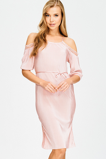 $15 - Cute cheap backless bejeweled cocktail dress - blush pink cold shoulder tie waist micro pleat lace trim pencil fitted sexy party midi dress
