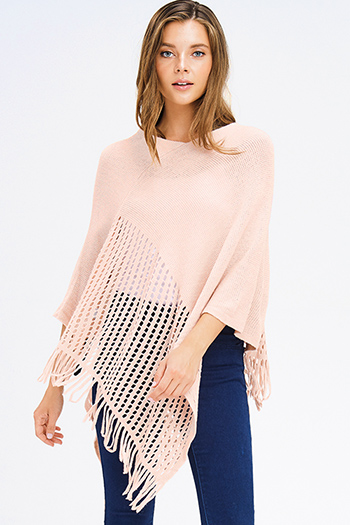 $15 - Cute cheap navy blue sheer crochet fringe trim open front boho kimono cardigan top - blush pink crochet knit asymmetrical fringe trim shawl poncho sweater knit jacket
