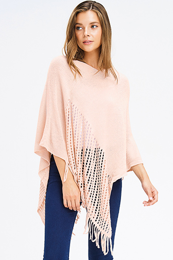 $15 - Cute cheap black peppered textured long sleeve zipper trim sweater knit top - blush pink crochet knit asymmetrical fringe trim shawl poncho sweater knit jacket