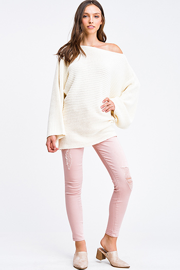 $30 - Cute cheap ivory white retro stripe ribbed knit long sleeve boho fitted sweater mini dress - Blush pink denim mid rise distressed cuffed boho fitted skinny jeans