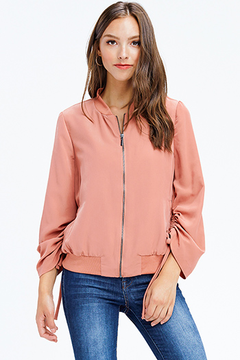 $20 - Cute cheap dusty pink cotton ruffle tiered quarter bell sleeve boho blouse top - blush pink drawstring tie long sleeve zip up boho jacket