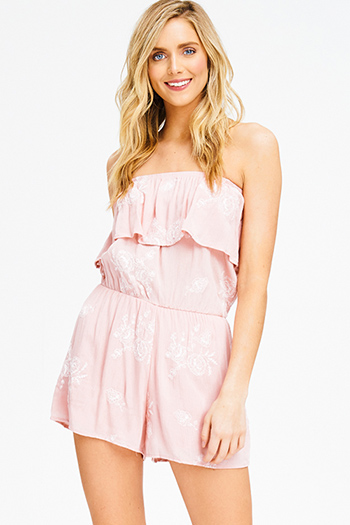 $15 - Cute cheap peach pink denim mid rise ripped knee skinny fit ankle jeans - blush pink embroidered strapless ruffle tiered boho romper playsuit jumpsuit