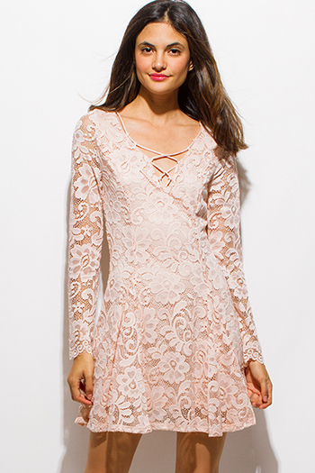 $15 - Cute cheap lace strapless sun dress - blush pink floral lace laceup front long sleeve skater mini sexy club dress