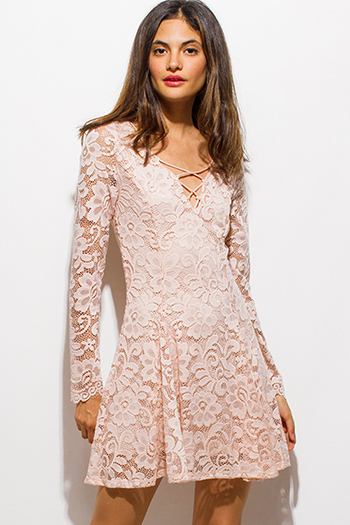 $15 - Cute cheap black crochet lace contrast strapless bodycon fitted sexy clubbing mini dress - blush pink floral lace laceup front long sleeve skater mini club dress