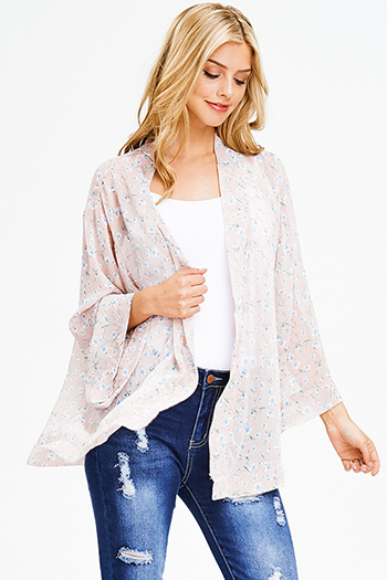 $15 - Cute cheap peach pink denim mid rise ripped knee skinny fit ankle jeans - blush pink floral print chiffon boho long kimono bell sleeve blazer cardigan top