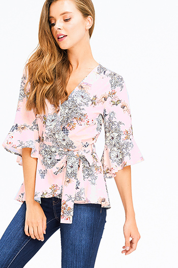 $15 - Cute cheap taupe beige tie dye rayon gauze long bell sleeve button up boho blouse top - blush pink floral print half bell sleeve surplice wrap tie front boho blouse top