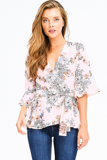 $12 - Cute cheap light blue tencel embroidered off shoulder short sleeve frayed hem boho crop top - blush pink floral print half bell sleeve surplice wrap tie front boho blouse top