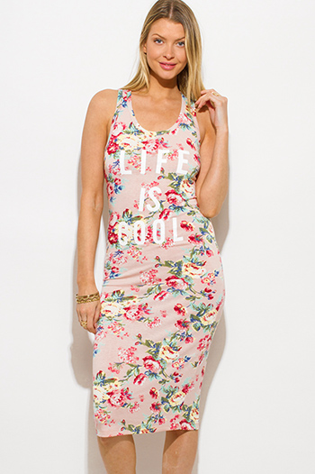 $15 - Cute cheap print crochet dress - blush pink floral print jersey graphic print sleeveless racer back bodycon fitted midi dress