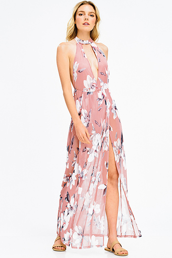 $15 - Cute cheap pink skater cocktail dress - blush pink floral print sheer mesh choker mock neck cut out backless slit bodysuit sexy club maxi dress