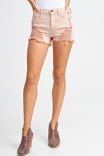 $15 - Cute cheap boho cut out romper - Blush pink high waisted denim cut off hem boho distressed shorts